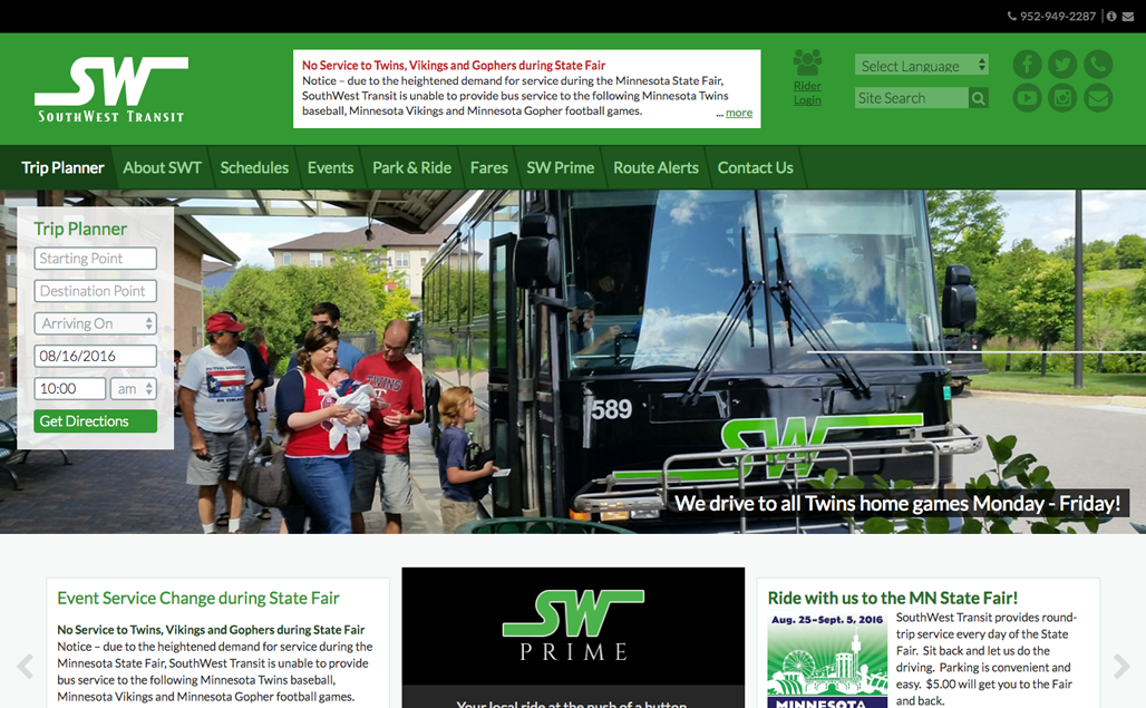 SouthWest Transit Website